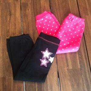 Toddler Girls Sweatpants 5T Pink Black Hearts